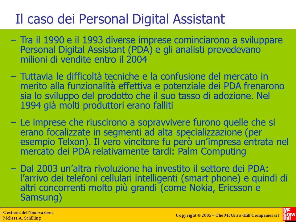Gestione dellinnovazione Melissa A. Schilling Copyright © 2005 – The McGraw-Hill Companies srl Il caso dei Personal Digital Assistant –Tra il 1990 e i