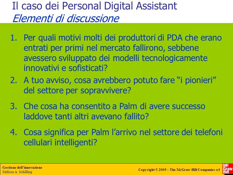 Gestione dellinnovazione Melissa A. Schilling Copyright © 2005 – The McGraw-Hill Companies srl Il caso dei Personal Digital Assistant Elementi di disc