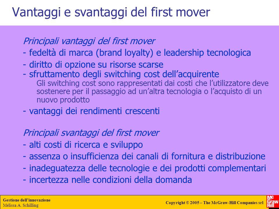 Gestione dellinnovazione Melissa A. Schilling Copyright © 2005 – The McGraw-Hill Companies srl Vantaggi e svantaggi del first mover Principali vantagg