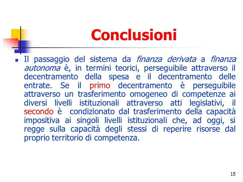 15 Conclusioni Il passaggio del sistema da finanza derivata a finanza autonoma è, in termini teorici, perseguibile attraverso il decentramento della spesa e il decentramento delle entrate.