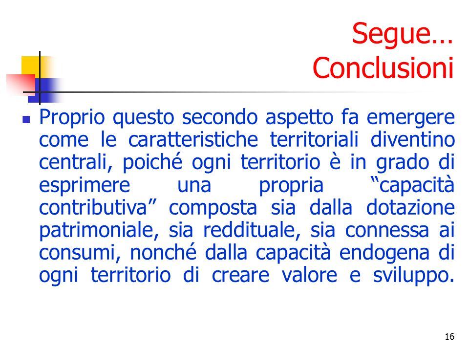 16 Segue… Conclusioni Proprio questo secondo aspetto fa emergere come le caratteristiche territoriali diventino centrali, poiché ogni territorio è in