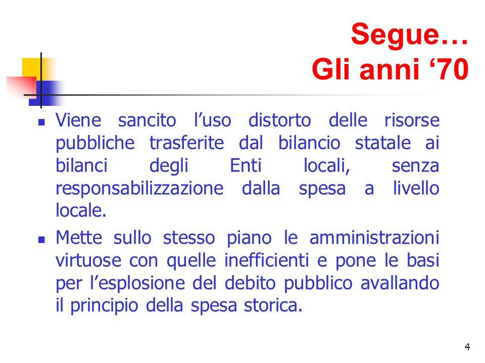 4 Segue… Gli anni 70 Viene sancito luso distorto delle risorse pubbliche trasferite dal bilancio statale ai bilanci degli Enti locali, senza responsabilizzazione dalla spesa a livello locale.