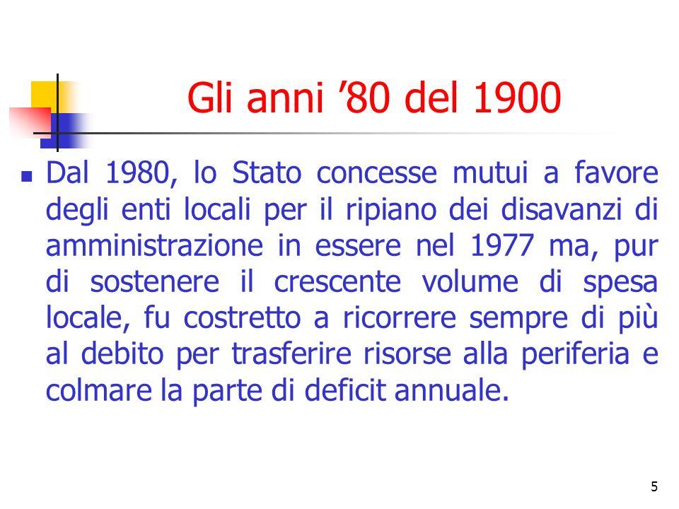 5 Gli anni 80 del 1900 Dal 1980, lo Stato concesse mutui a favore degli enti locali per il ripiano dei disavanzi di amministrazione in essere nel 1977