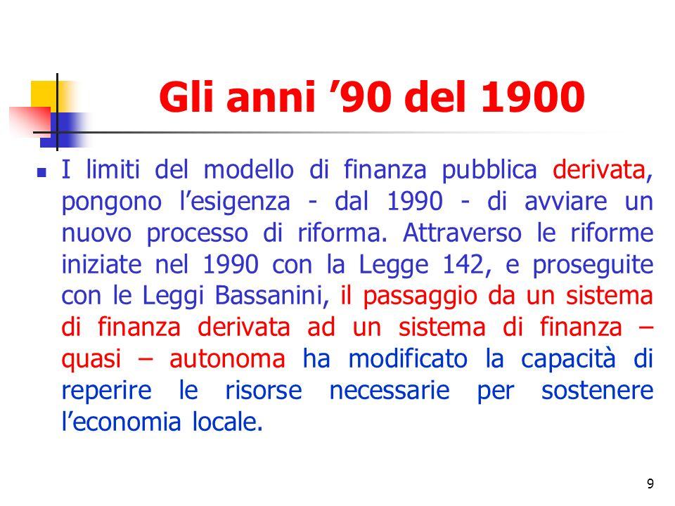 9 Gli anni 90 del 1900 I limiti del modello di finanza pubblica derivata, pongono lesigenza - dal 1990 - di avviare un nuovo processo di riforma.