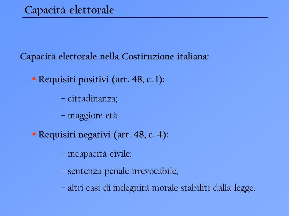 Capacità elettorale Capacità elettorale nella Costituzione italiana: Requisiti positivi (art.