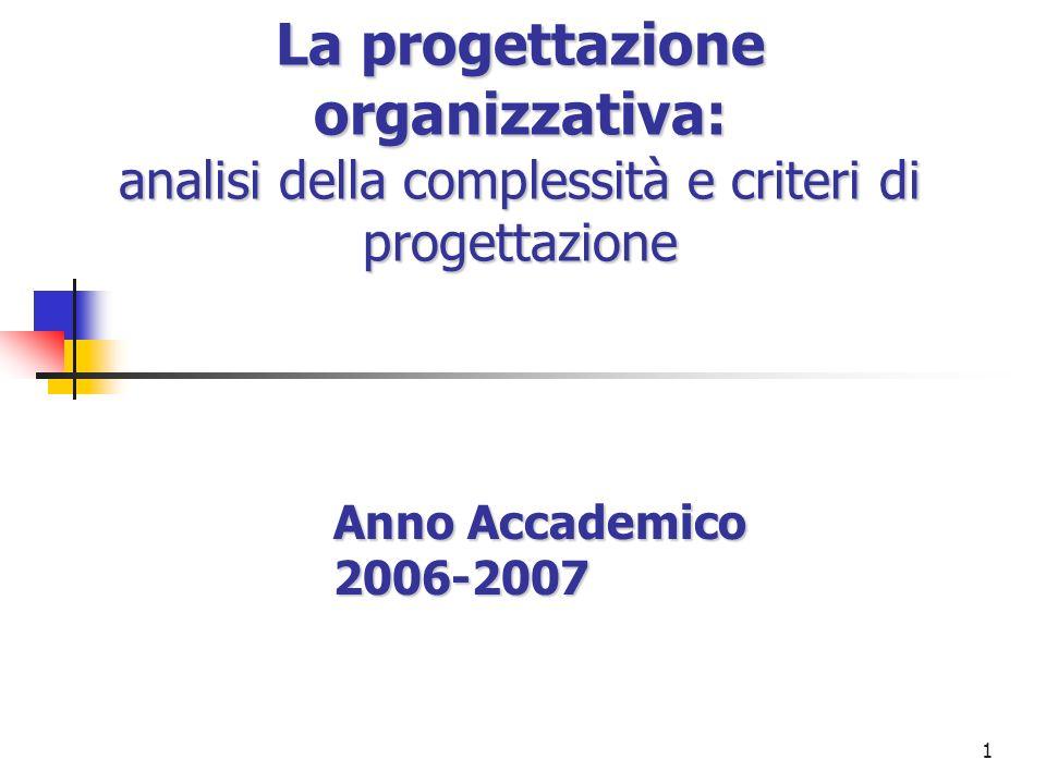 1 La progettazione organizzativa: analisi della complessità e criteri di progettazione Anno Accademico 2006-2007