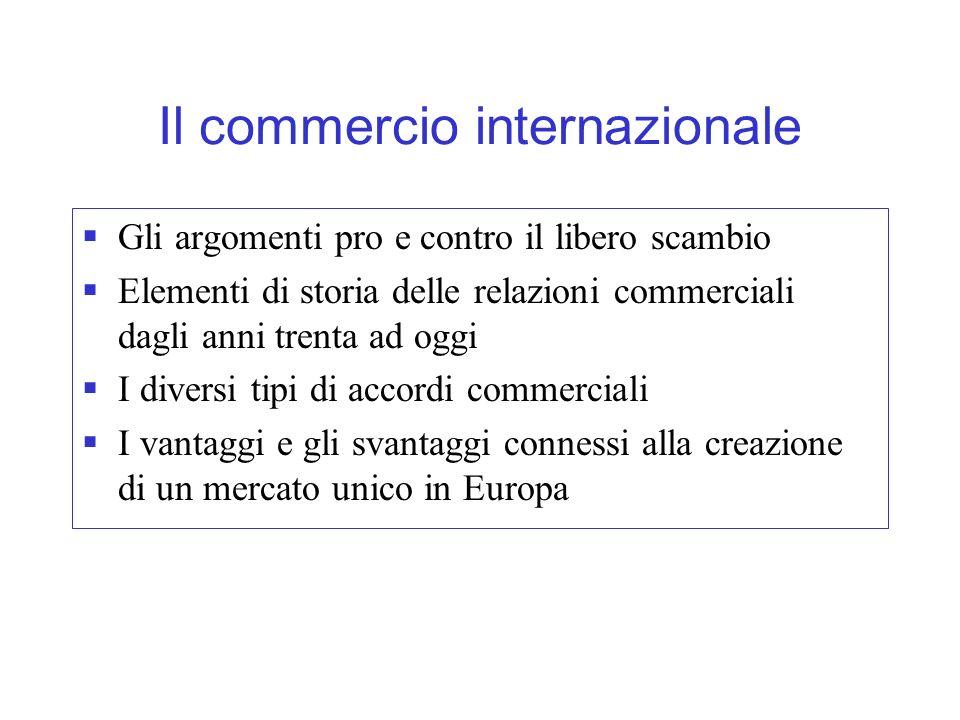 I vantaggi del libero scambio Autarchia vs.