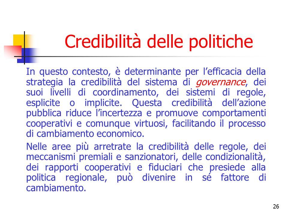 26 Credibilità delle politiche In questo contesto, è determinante per lefficacia della strategia la credibilità del sistema di governance, dei suoi livelli di coordinamento, dei sistemi di regole, esplicite o implicite.