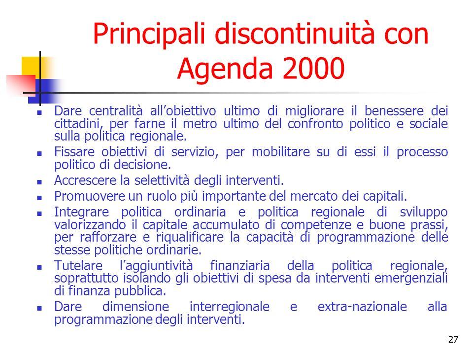 27 Principali discontinuità con Agenda 2000 Dare centralità allobiettivo ultimo di migliorare il benessere dei cittadini, per farne il metro ultimo del confronto politico e sociale sulla politica regionale.