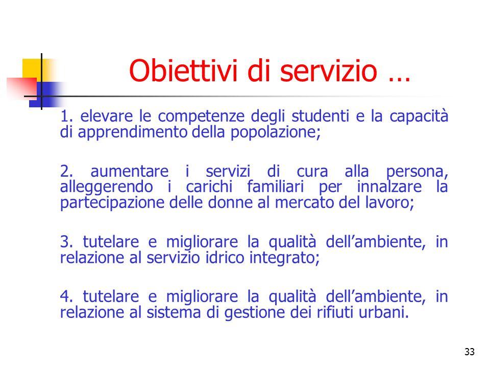 33 Obiettivi di servizio … 1.