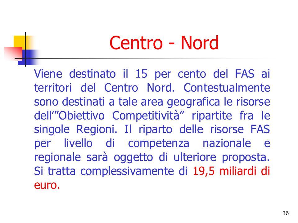 36 Centro - Nord Viene destinato il 15 per cento del FAS ai territori del Centro Nord.