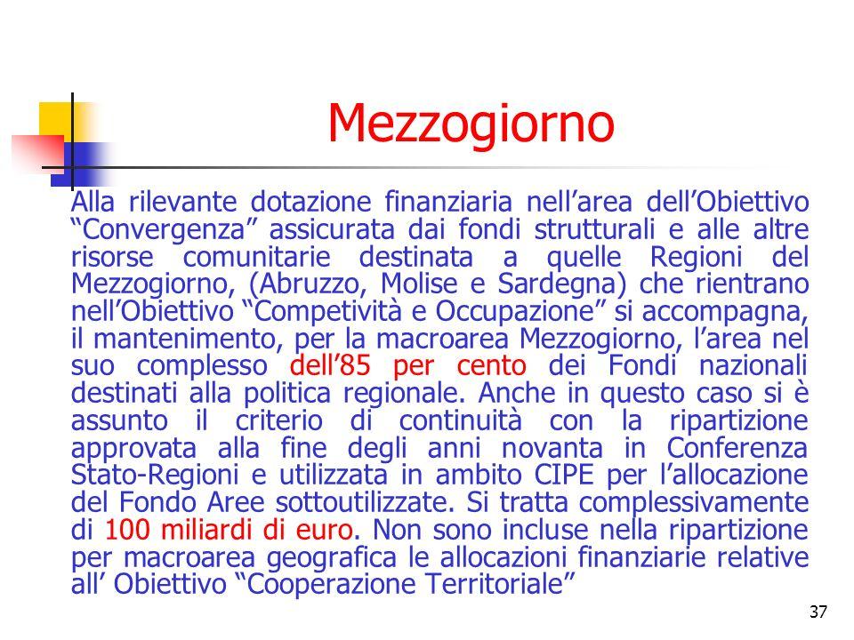 37 Mezzogiorno Alla rilevante dotazione finanziaria nellarea dellObiettivo Convergenza assicurata dai fondi strutturali e alle altre risorse comunitarie destinata a quelle Regioni del Mezzogiorno, (Abruzzo, Molise e Sardegna) che rientrano nellObiettivo Competività e Occupazione si accompagna, il mantenimento, per la macroarea Mezzogiorno, larea nel suo complesso dell85 per cento dei Fondi nazionali destinati alla politica regionale.