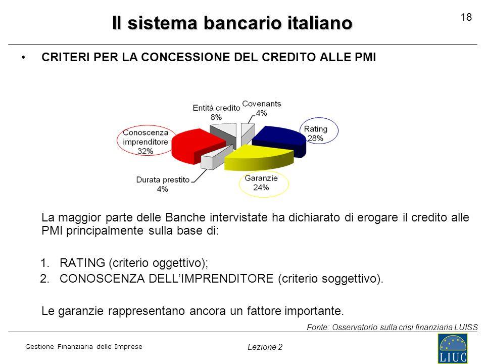 Gestione Finanziaria delle Imprese Lezione 2 Il sistema bancario italiano CRITERI PER LA CONCESSIONE DEL CREDITO ALLE PMI La maggior parte delle Banch