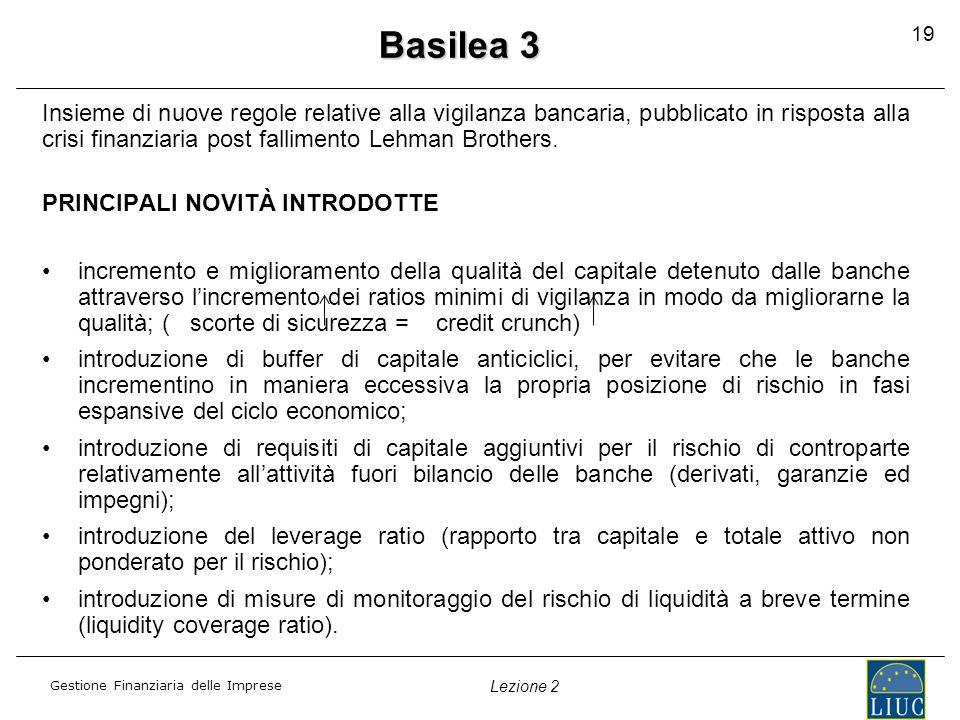 Gestione Finanziaria delle Imprese Lezione 2 Basilea 3 Insieme di nuove regole relative alla vigilanza bancaria, pubblicato in risposta alla crisi fin