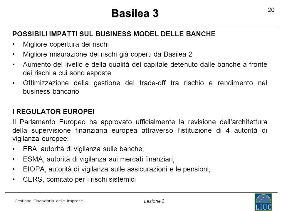 Gestione Finanziaria delle Imprese Lezione 2 POSSIBILI IMPATTI SUL BUSINESS MODEL DELLE BANCHE Migliore copertura dei rischi Migliore misurazione dei