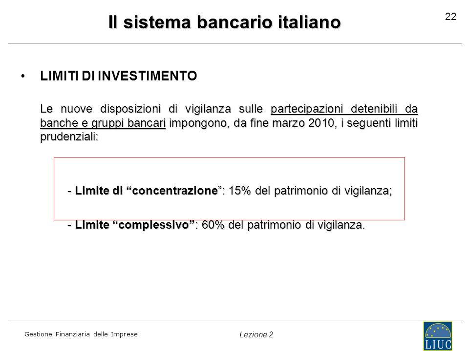 Gestione Finanziaria delle Imprese Lezione 2 Il sistema bancario italiano LIMITI DI INVESTIMENTO Le nuove disposizioni di vigilanza sulle partecipazio