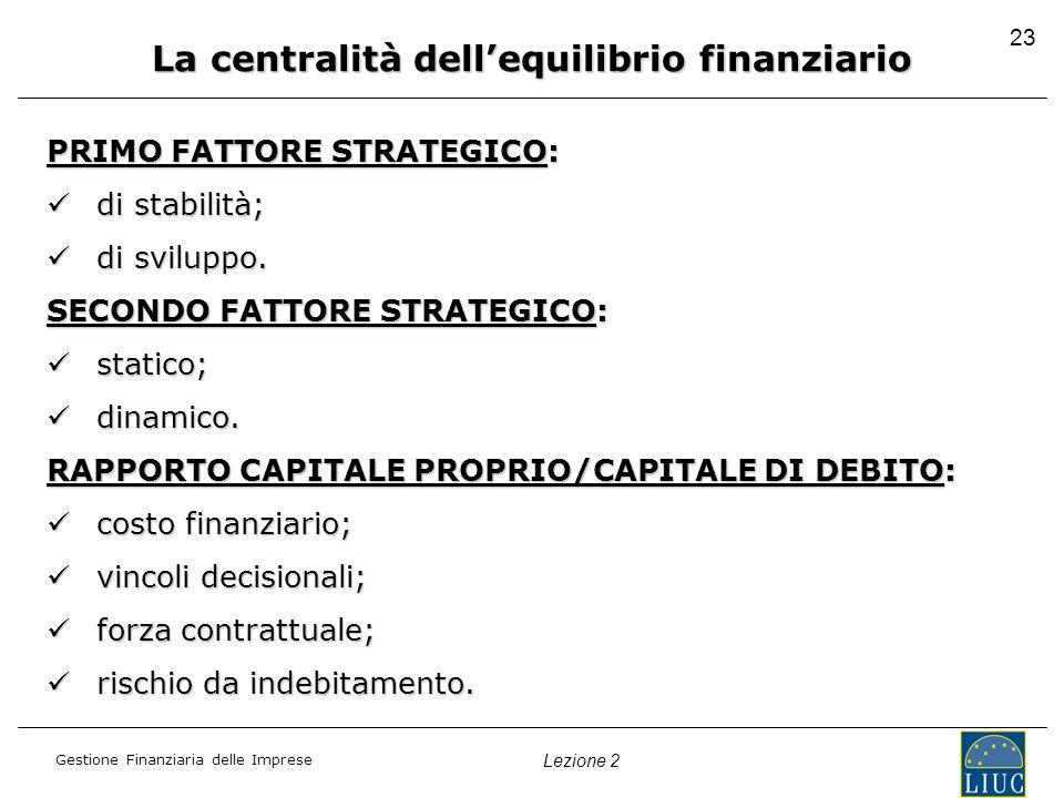 Gestione Finanziaria delle Imprese Lezione 2 23 La centralità dellequilibrio finanziario PRIMO FATTORE STRATEGICO: di stabilità; di stabilità; di svil