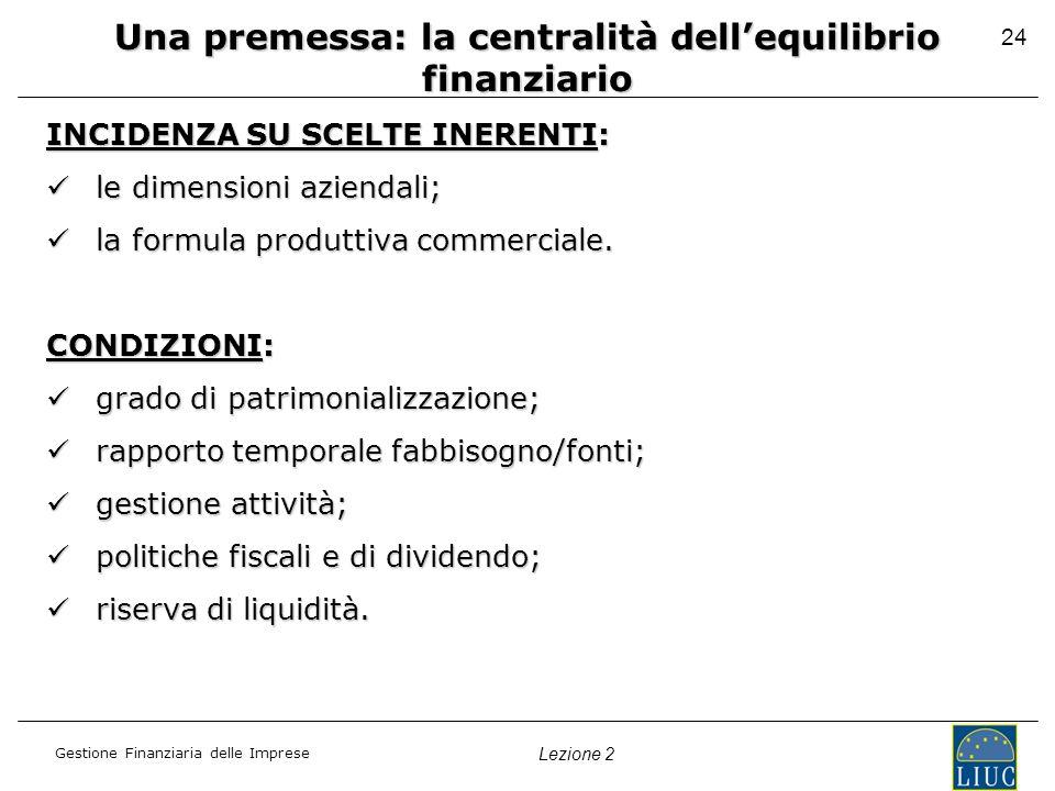 Gestione Finanziaria delle Imprese Lezione 2 24 Una premessa: la centralità dellequilibrio finanziario INCIDENZA SU SCELTE INERENTI: le dimensioni azi