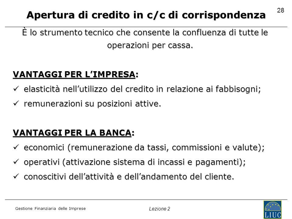 Gestione Finanziaria delle Imprese Lezione 2 28 Apertura di credito in c/c di corrispondenza È lo strumento tecnico che consente la confluenza di tutt