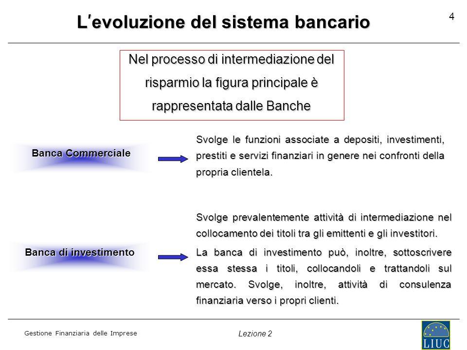 Gestione Finanziaria delle Imprese Lezione 2 La normativa Disciplina ante Testo Unico Bancario (Legge del 1936) le banche non possono effettuare operazioni attive di medio e lungo periodo; distinzione tra Istituto di Credito Ordinario e Istituto di Credito Speciale; disciplina per gli Investimenti in rapporto alla liquidità; preventiva autorizzazione per determinate forme dimpiego; le banche che vogliono acquisire partecipazioni nelle imprese devono essere autorizzate dalla Banca dItalia.