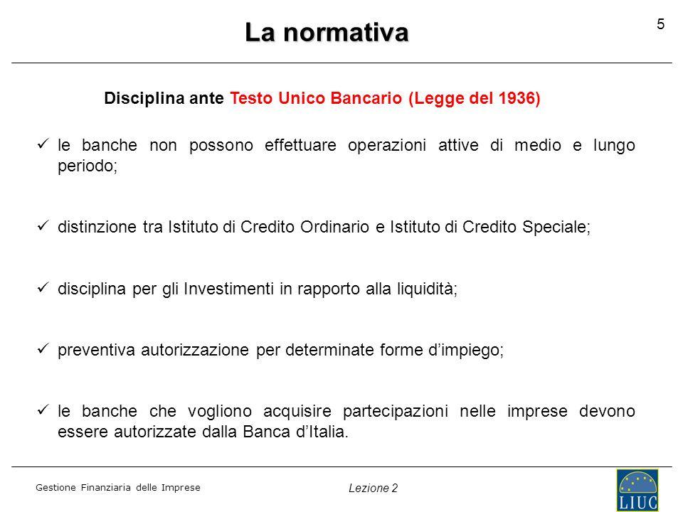 Gestione Finanziaria delle Imprese Lezione 2 La normativa Disciplina ante Testo Unico Bancario (Legge del 1936) le banche non possono effettuare opera