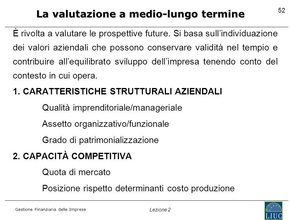 Gestione Finanziaria delle Imprese Lezione 2 È rivolta a valutare le prospettive future. Si basa sullindividuazione dei valori aziendali che possono c