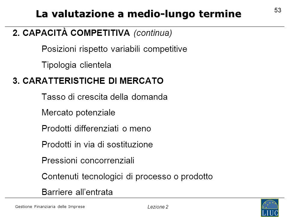 Gestione Finanziaria delle Imprese Lezione 2 2. CAPACITÀ COMPETITIVA (continua) Posizioni rispetto variabili competitive Tipologia clientela 3. CARATT