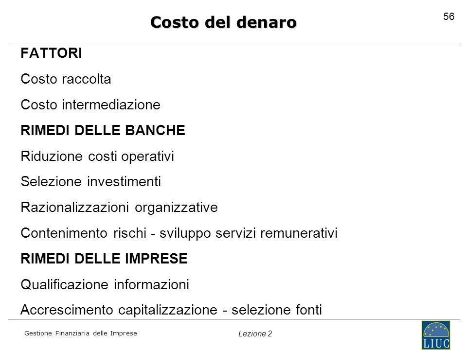 Gestione Finanziaria delle Imprese Lezione 2 FATTORI Costo raccolta Costo intermediazione RIMEDI DELLE BANCHE Riduzione costi operativi Selezione inve