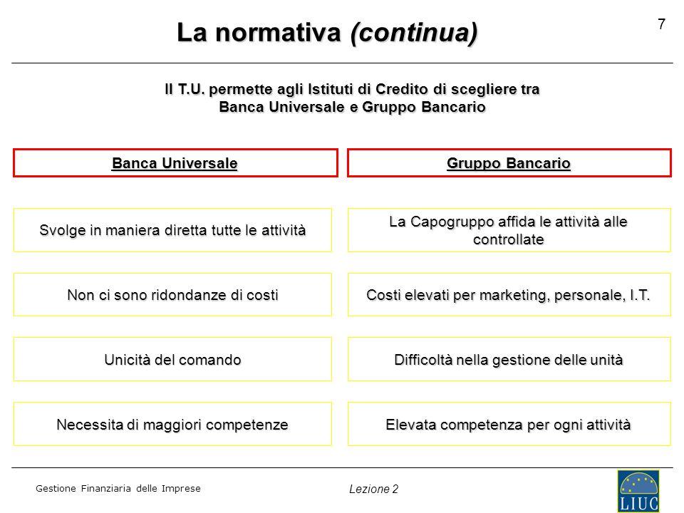 Gestione Finanziaria delle Imprese Lezione 2 La normativa (continua) Banca Universale Gruppo Bancario Svolge in maniera diretta tutte le attività La C