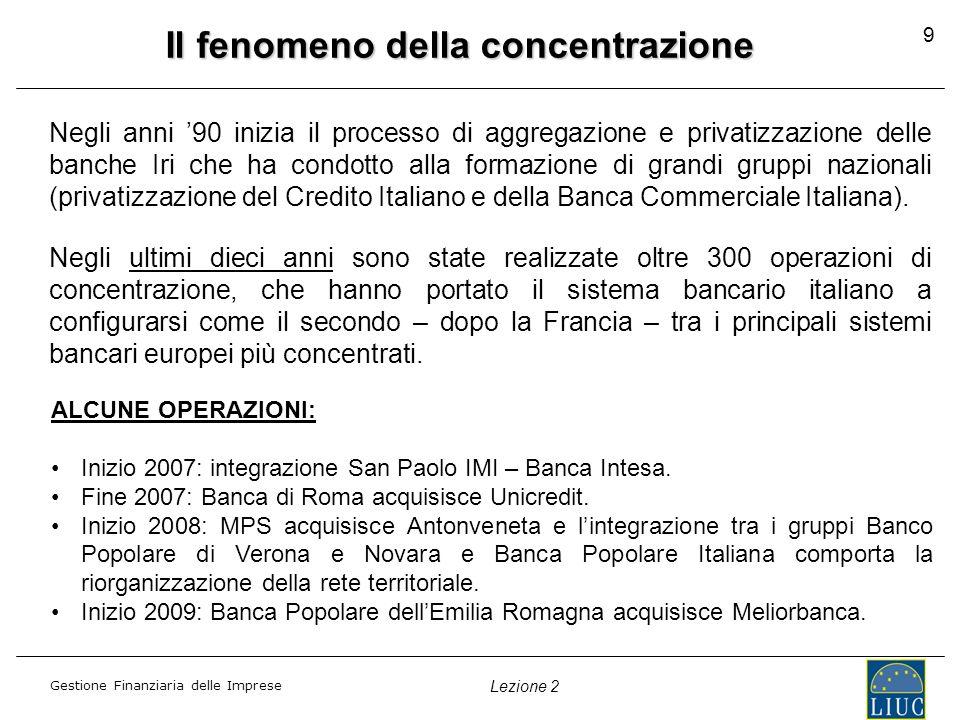 Gestione Finanziaria delle Imprese Lezione 2 Il fenomeno della concentrazione Negli anni 90 inizia il processo di aggregazione e privatizzazione delle