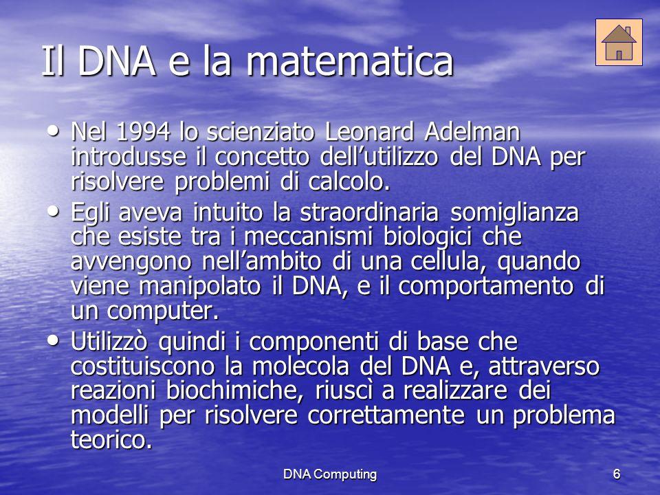 DNA Computing6 Il DNA e la matematica Nel 1994 lo scienziato Leonard Adelman introdusse il concetto dellutilizzo del DNA per risolvere problemi di calcolo.