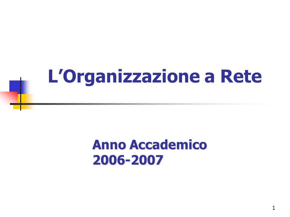 1 LOrganizzazione a Rete Anno Accademico 2006-2007