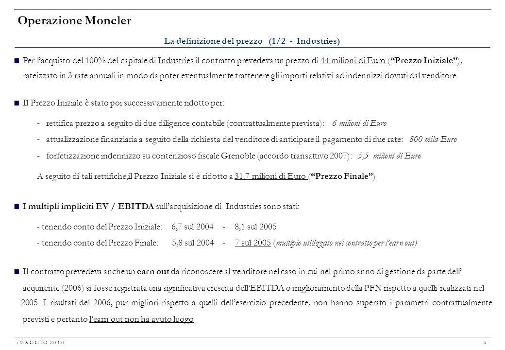 5 M A G G I O 2 0 1 0 2 Operazione Moncler Date: incontro con R. Ruffini (dopo la vendita a Stefanel dellazienda da lui creata: dal 2000 responsabile