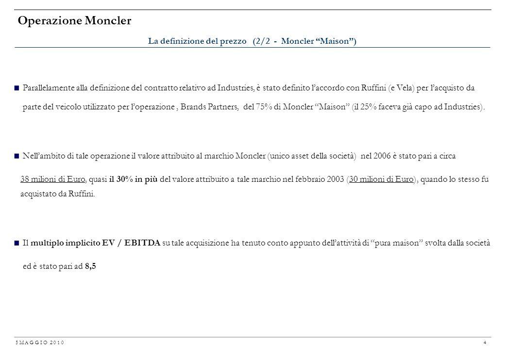 5 M A G G I O 2 0 1 0 3 Operazione Moncler Per lacquisto del 100% del capitale di Industries il contratto prevedeva un prezzo di 44 milioni di Euro (P