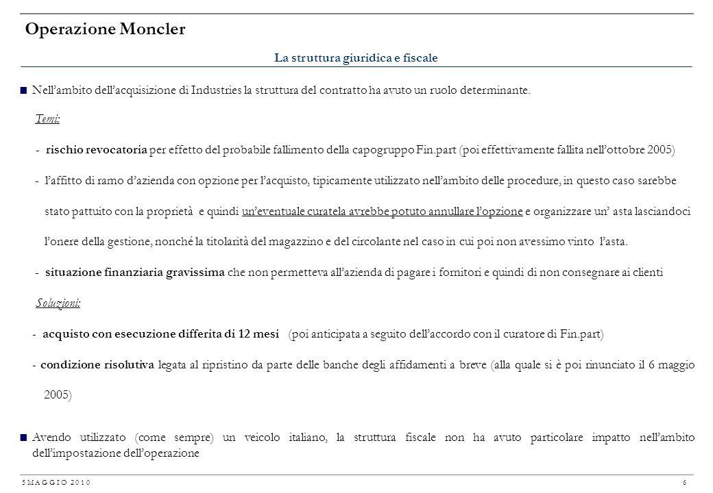 5 M A G G I O 2 0 1 0 5 Operazione Moncler In considerazione della situazione finanziaria in cui versava Industries allepoca, loperazione di acquisizi