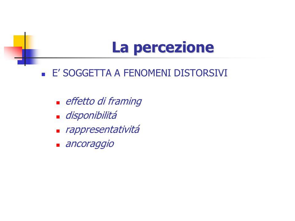 La percezione La percezione Ogni modo di vedere è anche un modo di non vedere Stimoli ambientali Percezione Risposte/comportamenti