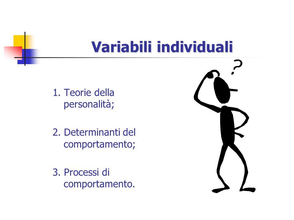 Variabili individuali 1.Teorie della personalità; 2.