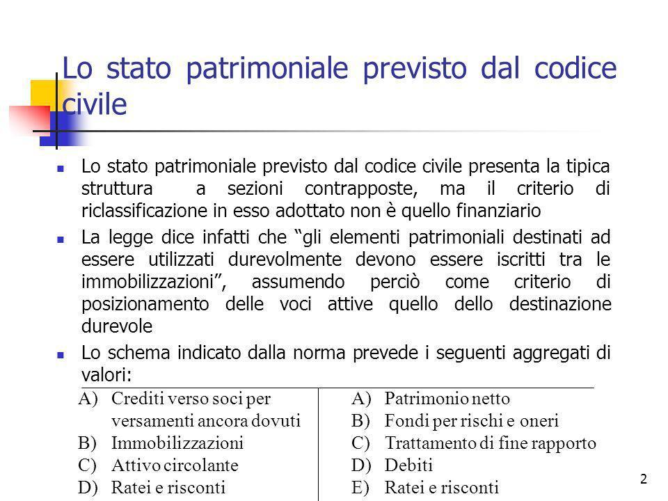 2 Lo stato patrimoniale previsto dal codice civile Lo stato patrimoniale previsto dal codice civile presenta la tipica struttura a sezioni contrappost