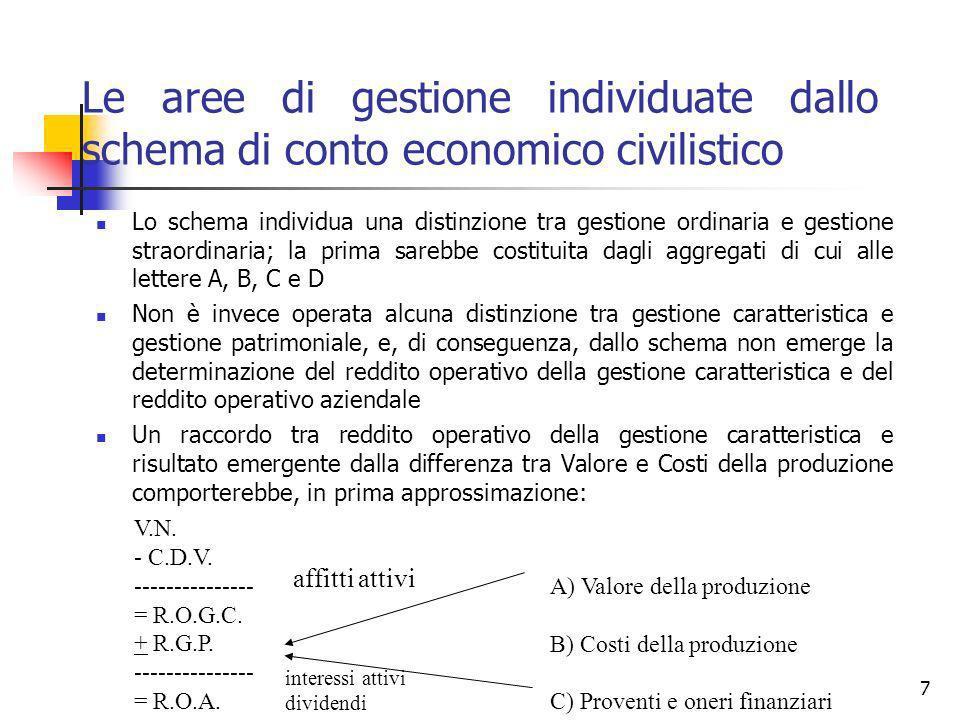 7 Le aree di gestione individuate dallo schema di conto economico civilistico Lo schema individua una distinzione tra gestione ordinaria e gestione st