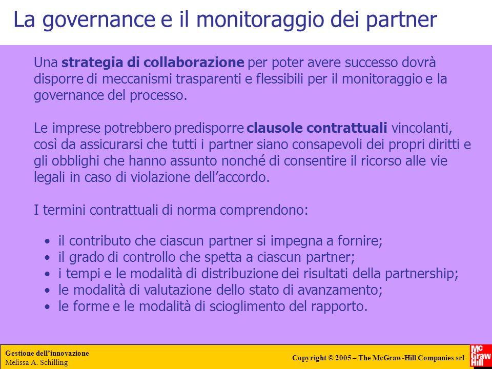 Gestione dellinnovazione Melissa A. Schilling Copyright © 2005 – The McGraw-Hill Companies srl La governance e il monitoraggio dei partner Una strateg