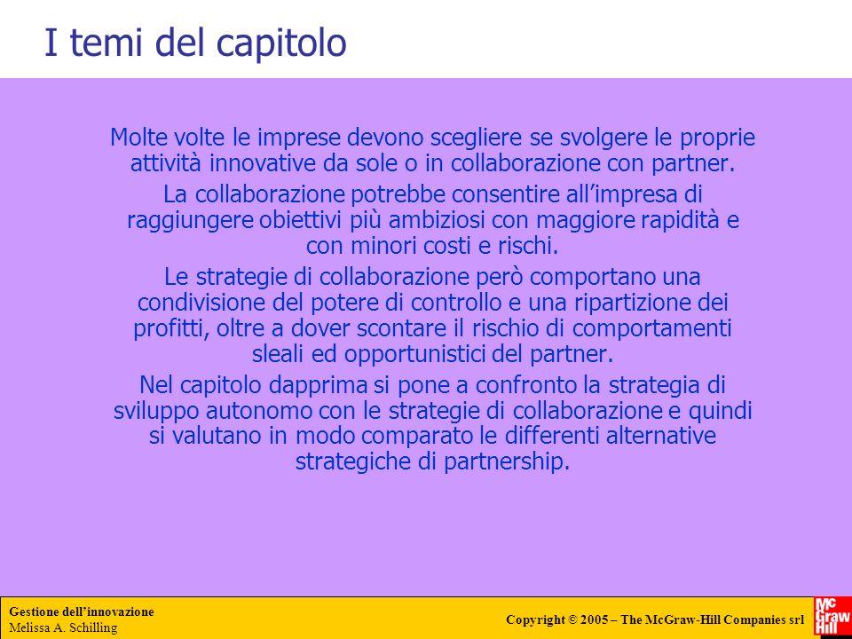 Gestione dellinnovazione Melissa A. Schilling Copyright © 2005 – The McGraw-Hill Companies srl Molte volte le imprese devono scegliere se svolgere le