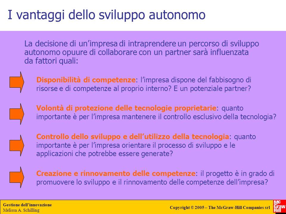 Gestione dellinnovazione Melissa A. Schilling Copyright © 2005 – The McGraw-Hill Companies srl I vantaggi dello sviluppo autonomo La decisione di unim