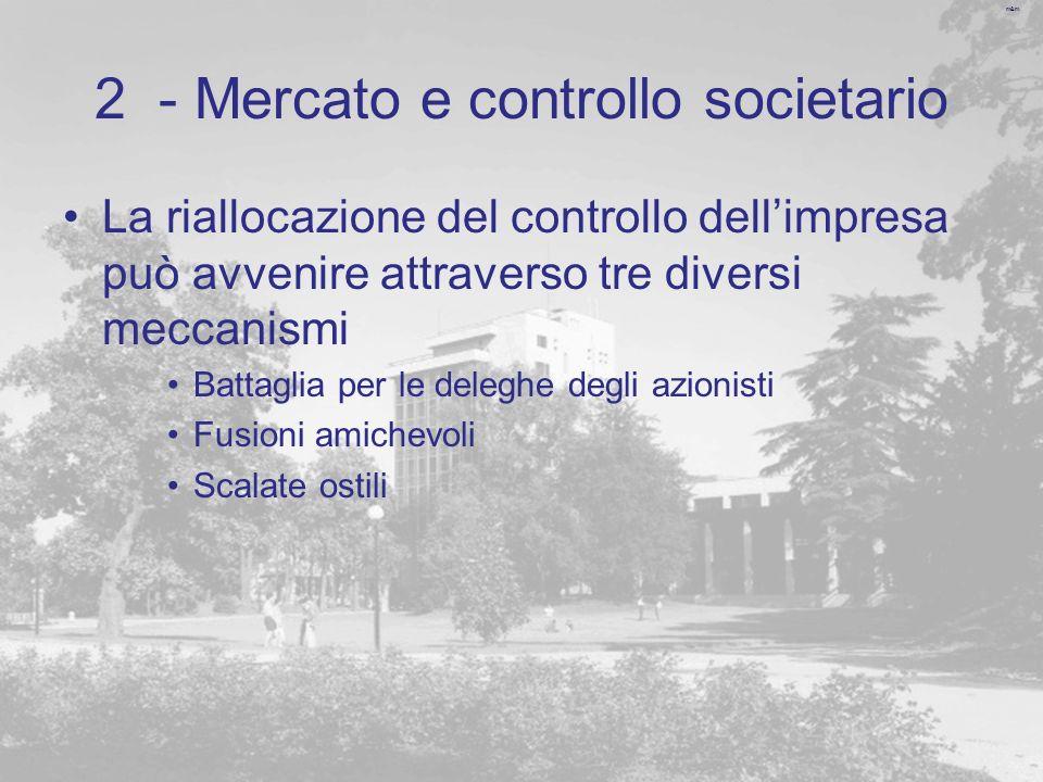 m&m 2 - Mercato e controllo societario La riallocazione del controllo dellimpresa può avvenire attraverso tre diversi meccanismi Battaglia per le dele