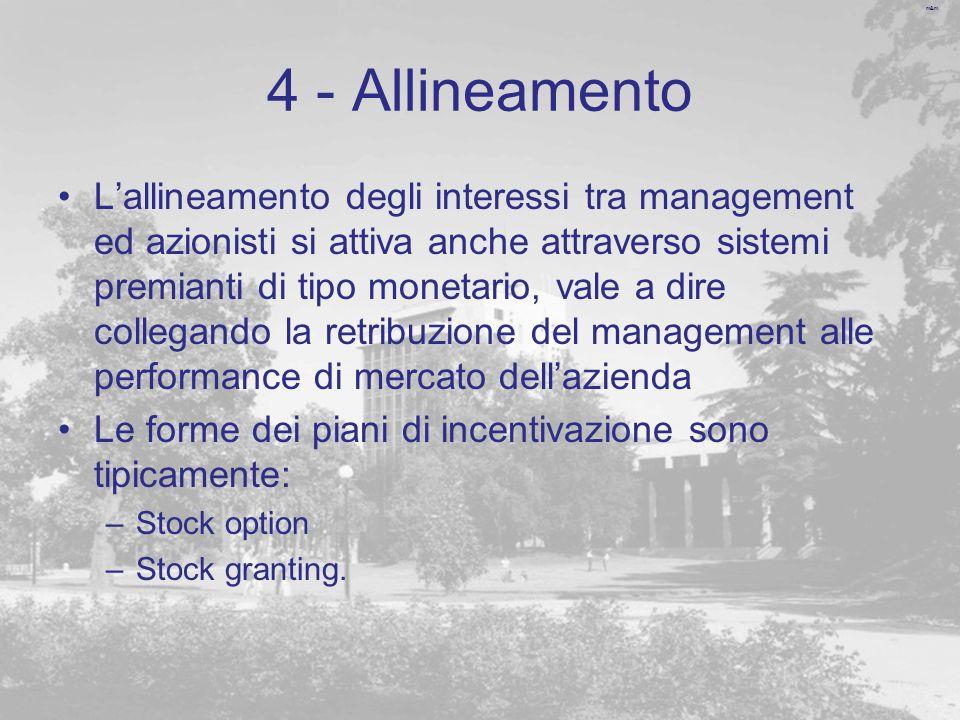 m&m 4 - Allineamento Lallineamento degli interessi tra management ed azionisti si attiva anche attraverso sistemi premianti di tipo monetario, vale a