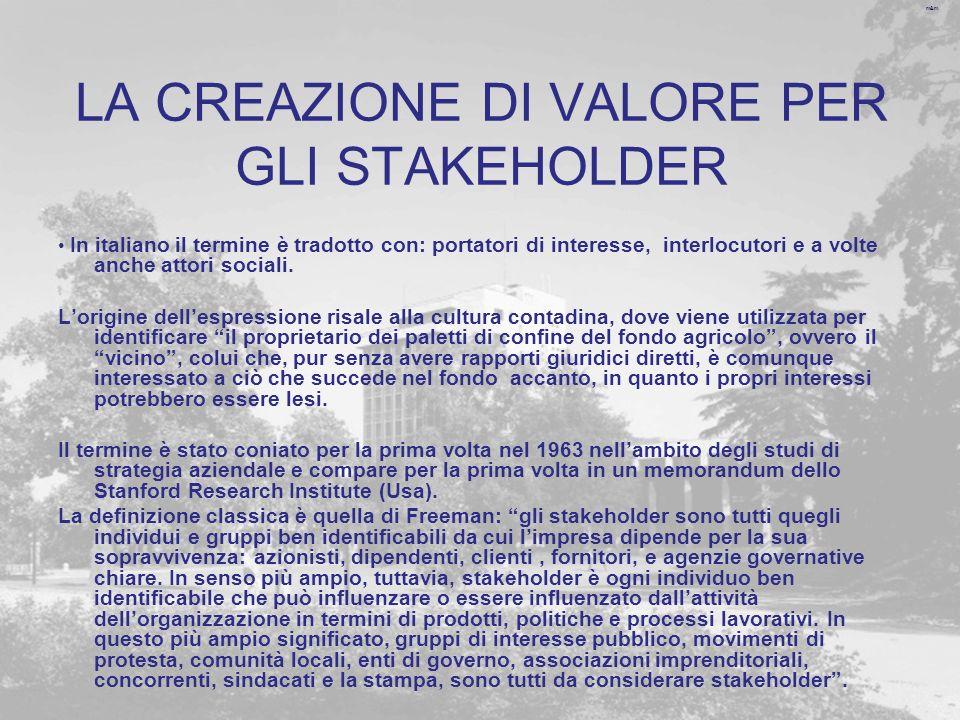 m&m LA CREAZIONE DI VALORE PER GLI STAKEHOLDER In italiano il termine è tradotto con: portatori di interesse, interlocutori e a volte anche attori soc