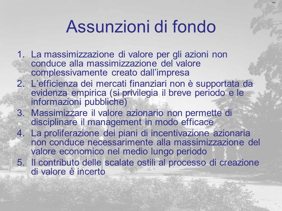 m&m Assunzioni di fondo 1.La massimizzazione di valore per gli azioni non conduce alla massimizzazione del valore complessivamente creato dallimpresa