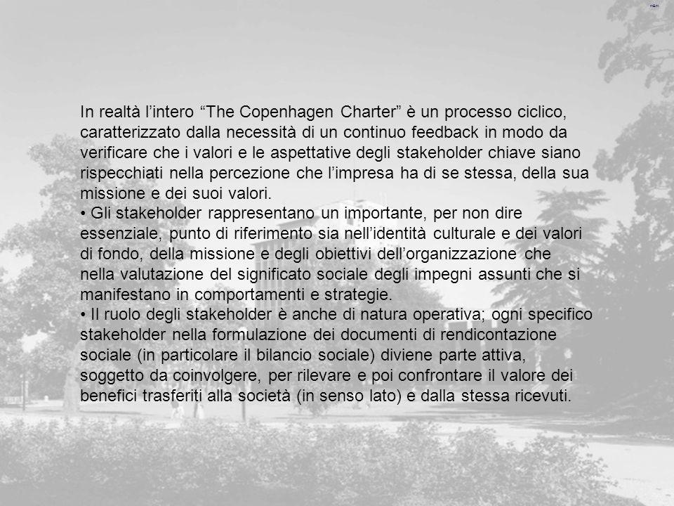 m&m In realtà lintero The Copenhagen Charter è un processo ciclico, caratterizzato dalla necessità di un continuo feedback in modo da verificare che i