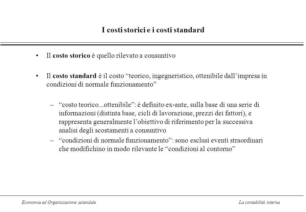Economia ed Organizzazione aziendaleLa contabilità interna I costi storici e i costi standard Il costo storico è quello rilevato a consuntivo Il costo