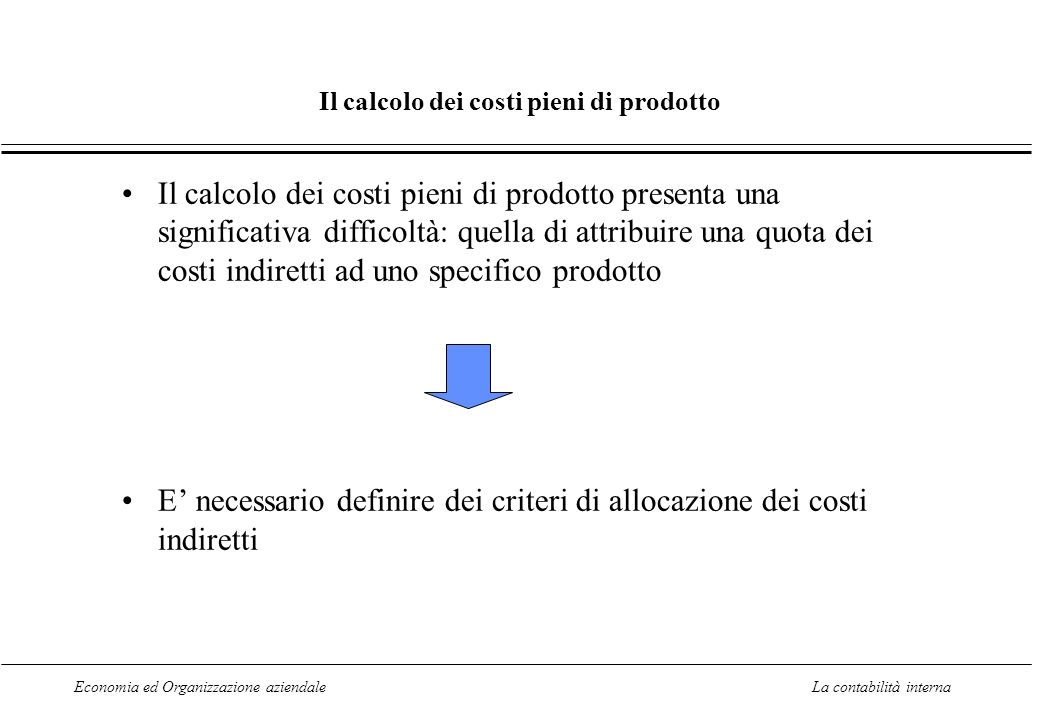 Economia ed Organizzazione aziendaleLa contabilità interna Il calcolo dei costi pieni di prodotto Il calcolo dei costi pieni di prodotto presenta una