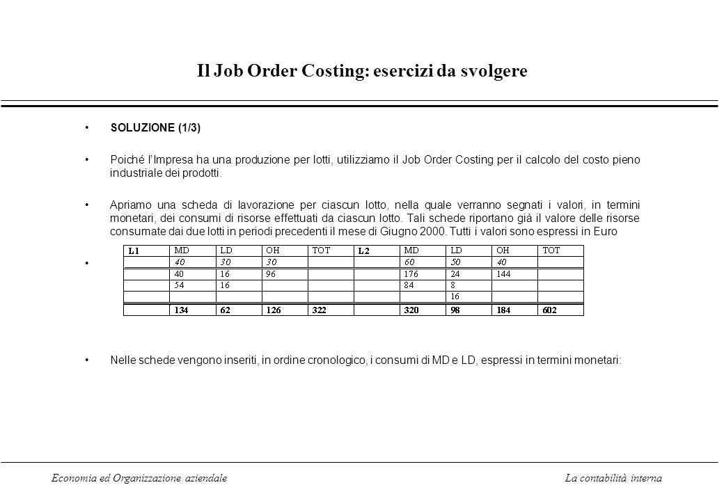 Economia ed Organizzazione aziendaleLa contabilità interna Il Job Order Costing: esercizi da svolgere SOLUZIONE (1/3) Poiché lImpresa ha una produzion
